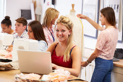 College Students Studying Fashion And Design Stock Photography