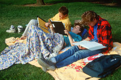 College students studying in field Stock Photos