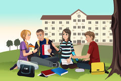 College students studying outdoor. A vector illustration of college students studying outdoor on the grass Stock Photo