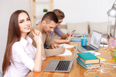 College students studying together at home Stock Photos