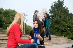 College Students talking. Female college students talking outdoor Stock Photography