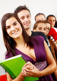 College students and a teacher Stock Images