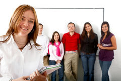 College students and a teacher Royalty Free Stock Images
