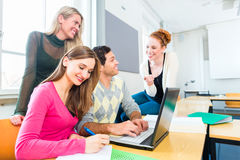 College students in teamwork learning Stock Images
