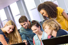 College students using computer Stock Image
