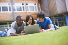 College students using laptop on campus lawn Stock Images