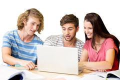 College students using laptop in library. Group of college students using laptop in the library Stock Photos