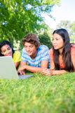 College students using laptop. University students using laptop together while lying on college campus Stock Images