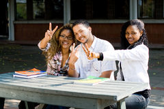 College students victory signs stock images