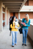 College students walking on campus stock image