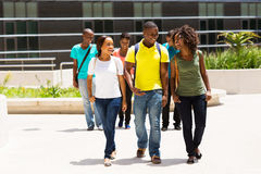 College students walking campus Stock Photo