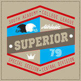 College Superior university division team sport label typography, t-shirt graphics for apparel Royalty Free Stock Photos