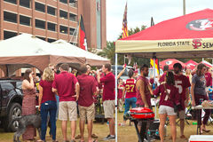 College Tailgaiting. Tallahassee, FL - Nov. 16, 2013:  Florida State fans tailgaiting around Doak Campbell Stadium for the 2013 Homecoming Game against Syracuse Royalty Free Stock Images
