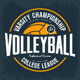 College tournament emblem for volleyball sport. Volleyball ball as logo for college tournament. T-shirt or cloth print for varsity tournament, hand athletic Royalty Free Stock Photography