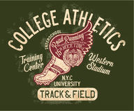 College track and field athletic. Grunge vector print for sport wear vector illustration
