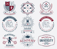 College and University badges 2 colored Royalty Free Stock Photos