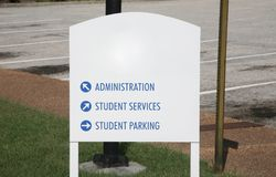 College or University Campus Sign. A college or university center sign gives directions to destinations around campus Royalty Free Stock Photography