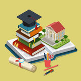 College university education graduation flat 3d web isometric. Infographic concept template vector. Heap of book graduate cap on top open book license Stock Image