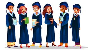 College university graduates vector illustration stock illustration