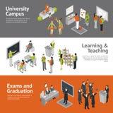 College University Isometric Banners Stock Photos