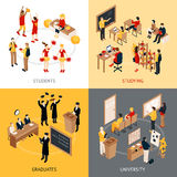 College And University Isometric 2x2 Icons Set Royalty Free Stock Images
