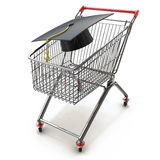 College And University Shopping concept with mortar board or gra Stock Photos