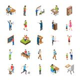 College and University Students Flat Icons stock illustration
