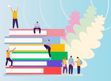College and university students, researchers and professors studying together, education and research concept. Vector illustration. In a flat style stock illustration
