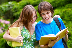 College or university students studying. Outdoors Stock Photography