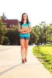 College woman going to class Royalty Free Stock Image