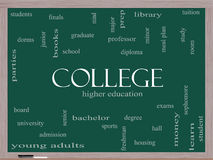College Word Cloud Concept on a Blackboard. With great terms such as tuition, study, student, major and more Stock Photos