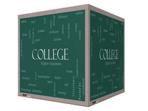 College Word Cloud Concept on a 3D Cube Blackboard. With great terms such as tuition, study, student, major and more Royalty Free Stock Images