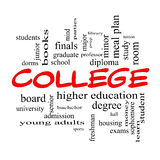 College Word Cloud Concept in red caps. With great terms such as tuition, study, student, major and more Stock Photos