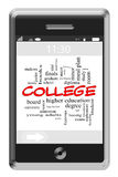 College Word Cloud Concept on Touchscreen Phone. College Word Cloud Concept of Touchscreen Phone with great terms such as students, finals, diploma and more Royalty Free Stock Photos