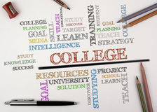 COLLEGE word cloud, education concept on drawing sheets Stock Photography