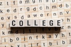 College word concept stock photo