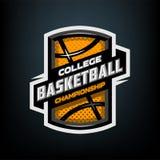 Collegebasketball, Sportlogoemblem Lizenzfreie Stockfotos