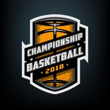 Collegebasketball, Sportlogoemblem Stockbild