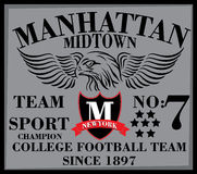 Collegegrafikdesign New York Manhattan für T-Shirt Lizenzfreie Abbildung