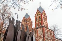 Collegekirche von St Bartholomew im Winter Lizenzfreies Stockbild