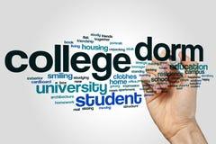 Collegeschlafsaalwort-Wolkenkonzept auf grauem Hintergrund Lizenzfreie Stockfotografie