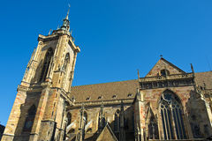 Collegest. Martin Church, Colmar, Elsass, Frankreich Lizenzfreie Stockfotos