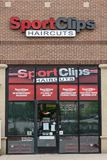 Store front of Sport Clips barber shop. Collegeville, PA - May 9, 2019: Gordon Logan developed the Sport Clips Haircuts concept including the `MVP Haircut stock photos