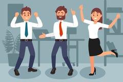 Colleghi che celebrano risultato della vittoria Di impiegato felici Scaffale, tavola con il computer portatile e pianta in vaso s illustrazione di stock