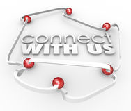 Colleghi con noi le palle che delle frecce il collegamento comunica il contatto Informatio illustrazione di stock