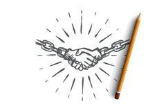 Colleghi, contragga, accordo, l'associazione, concetto di comunicazioni Vettore isolato disegnato a mano illustrazione di stock