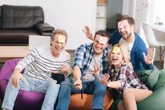 Colleghi felici allegri che prendono un selfie Fotografia Stock Libera da Diritti