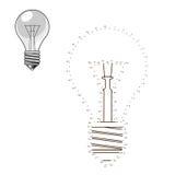 Colleghi i punti al gioco educativo della lampadina di tiraggio illustrazione di stock
