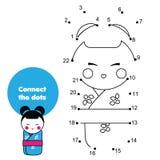 Colleghi i punti dai numeri Gioco educativo per i bambini ed i bambini Bambola giapponese di kokeshii in kimono royalty illustrazione gratis