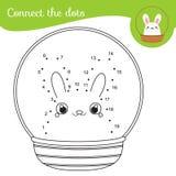 Colleghi i punti dai numeri Gioco educativo per i bambini ed i bambini Merce nel carrello del coniglietto royalty illustrazione gratis